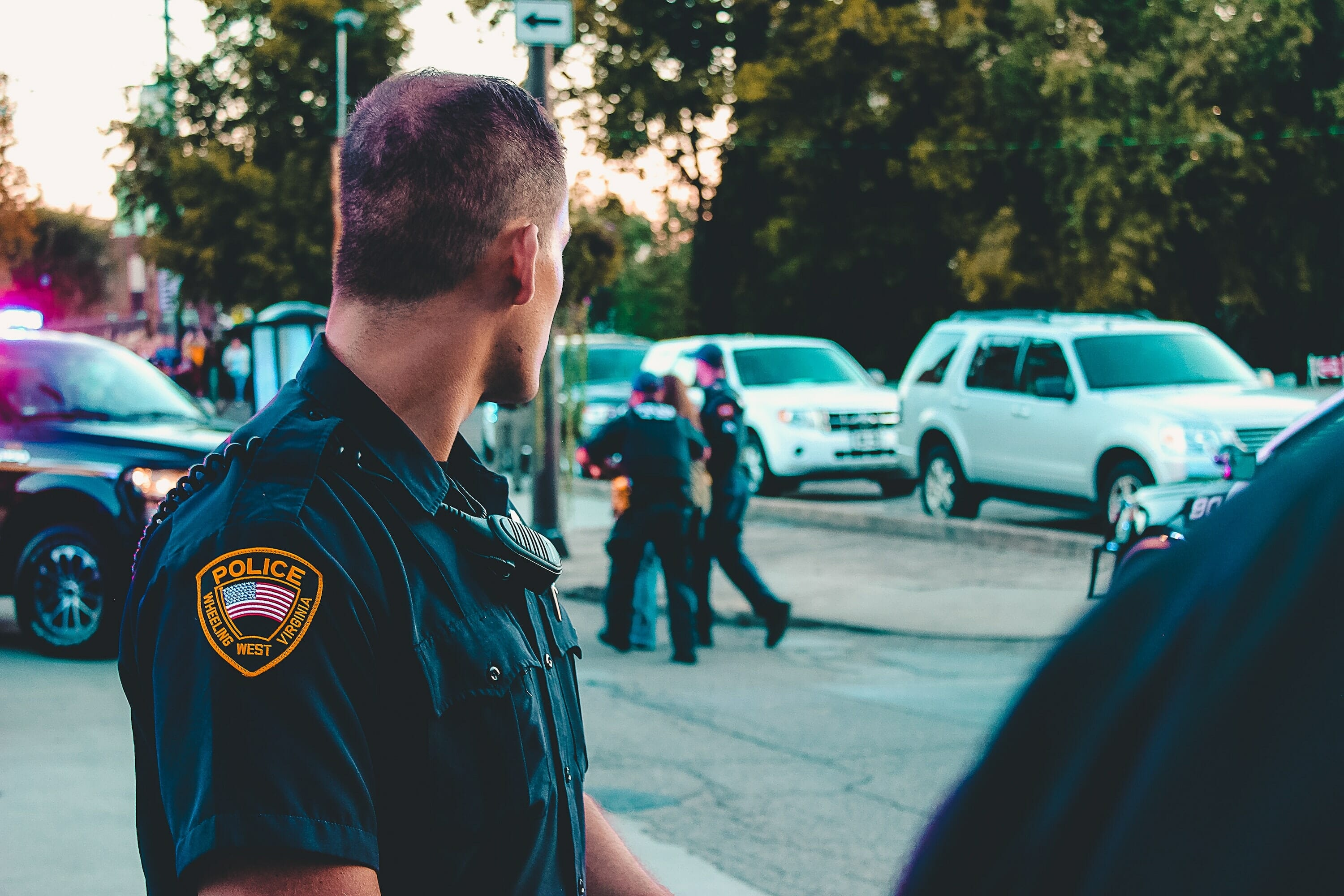 A police officers looking at an arrest