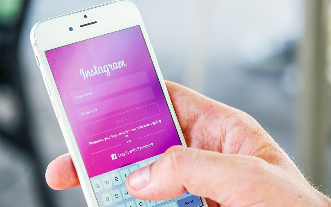 Phone showing Instagram login